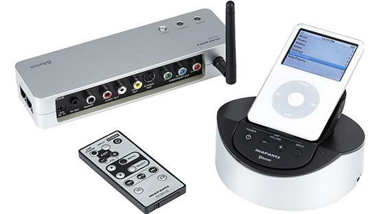 Marantz IS301 Extender (left), remote, and base with handset (right) — iPod not included
