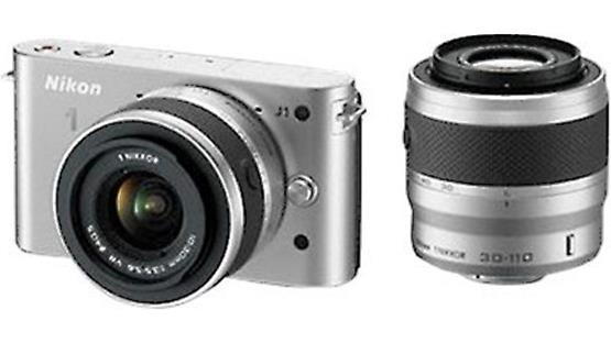 Nikon 1 J1 w/10-30mm and 30-110mm VR Lenses Front (silver)