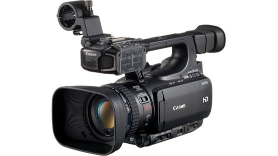 Canon XF100 High Definition Camcorder Front, left-side, 3/4 view