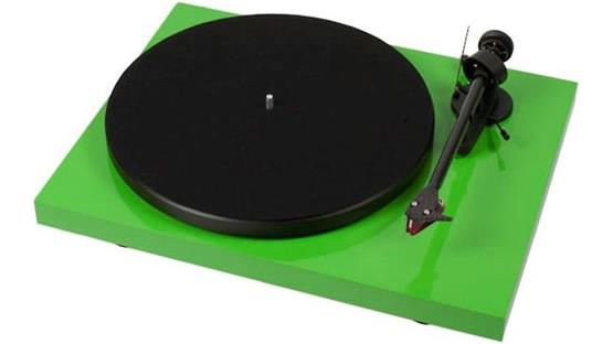 Pro-Ject Debut Carbon Gloss Green (shown with dust cover removed)