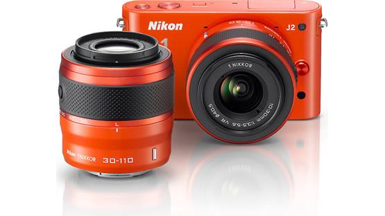 Nikon 1 J2 Dual Lens Kit with 10-30mm and 30-110mm VR lenses Front (Orange)