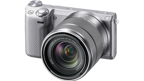 Sony Alpha NEX-5R with 3X Zoom Lens Front (Silver)