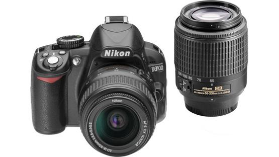 Nikon D3100 Kit with Standard Zoom and Telephoto Zoom Lenses Front