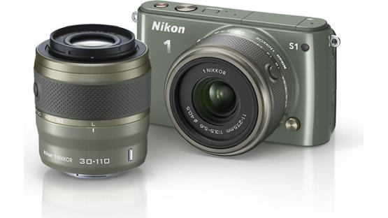 Nikon 1 S1 with Standard and Telephoto Zoom Lenses Front (Khaki)