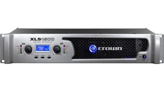 Crown XLS 1500 The front panel offers gain controls for each channel, LED indicators, an LCD screen with three menu buttons, and the power switch.