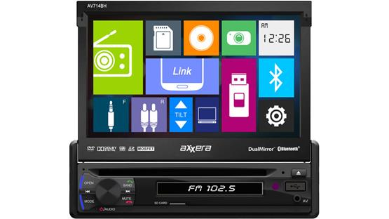 Axxera AV714BH Icon-based controls let you quickly find your music and videos