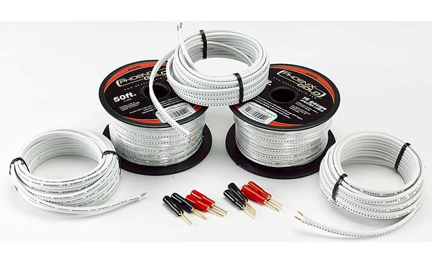 phoenix gold home theater speaker cable kit for two front, one