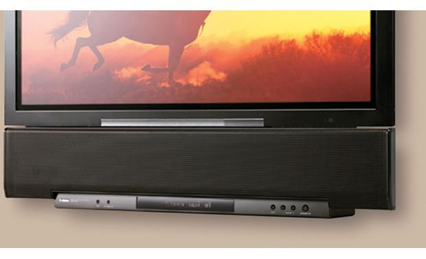 Yamaha YSP-4000 Digital Sound Projector™ YSP-4000, in black, mounted below a flat-panel TV