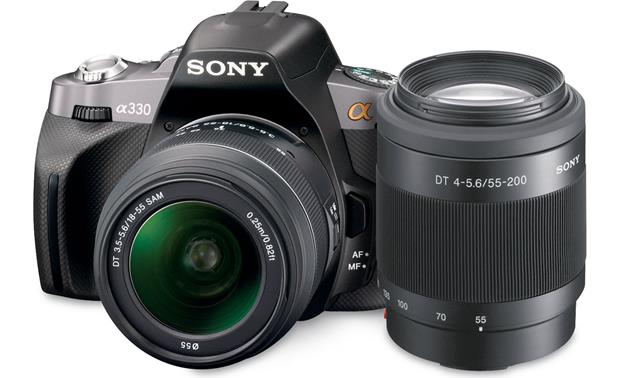 Sony Alpha DSLR-A330 Two-lens Kit Front with included lenses