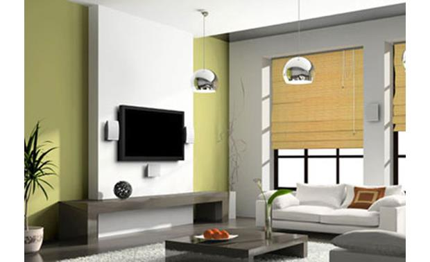 Polk Audio OWM3 Pictured wall mounted with flat-panel TV