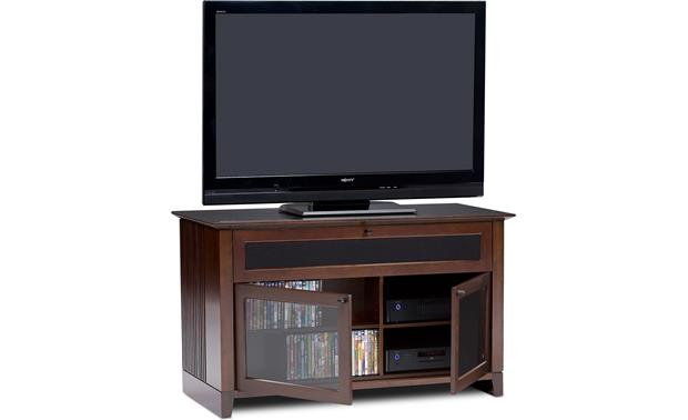 BDI Novia Series 8426 Cocoa - cabinet doors open (TV, components and DVDs not included)