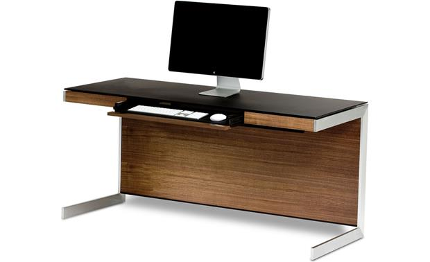 BDI Sequel 6001 Desk Walnut with drawer open (computer and office supplies not included)
