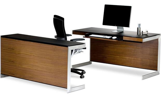 BDI Sequel 6001 Desk Walnut shown with Sequel 6002 desk (desk, computer and office supplies not included)