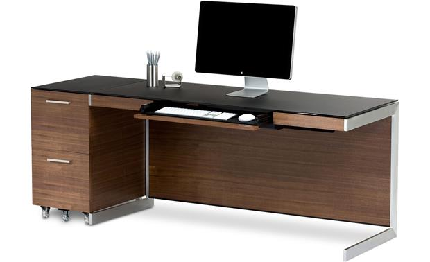 BDI Sequel 6001 Desk Walnut shown with Sequel 6005 file pedestal (pedestal, computer and office supplies not included)