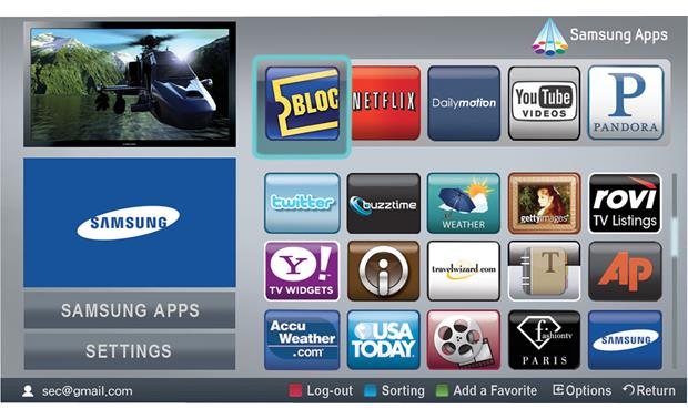 Samsung PN63C7000 Samsung Apps screen
