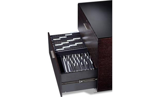 BDI Sequel 6016 Espresso, with bottom drawer open (office supplies not included)