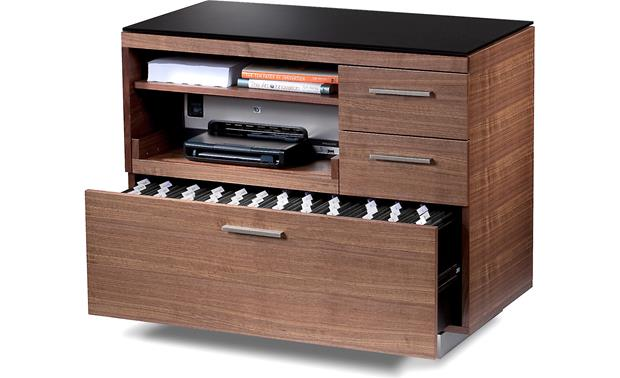 BDI Sequel 6017 Walnut- with file drawer open (printer and supplies not included