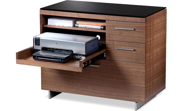 BDI Sequel 6017 Walnut - with printer drawer extended (pirnter and supplies not included)