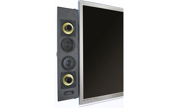 Artison Portrait LCR DualMono® Shown attached to TV with grille off