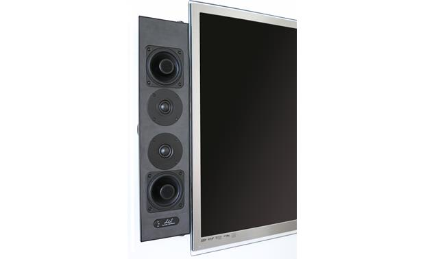 Artison Sketch LCR DualMono® Shown attached to TV with grille off
