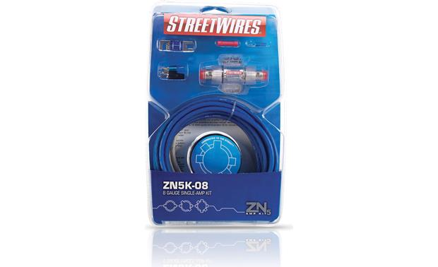 StreetWires ZeroNoise 5 ZN5K-08 8-gauge kit shown in blue