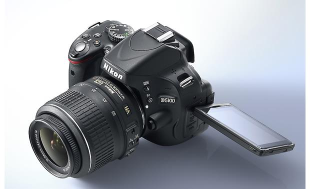 Nikon D5100 Kit Angled view (with LCD screen extended)