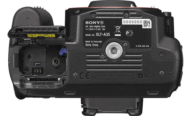 Sony Alpha SLT-A35 (no lens included) Bottom (with battery/memory compartment door open)