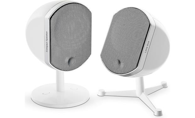 Focal Bird White (shown with the two types of bracket/stands included for each speaker)
