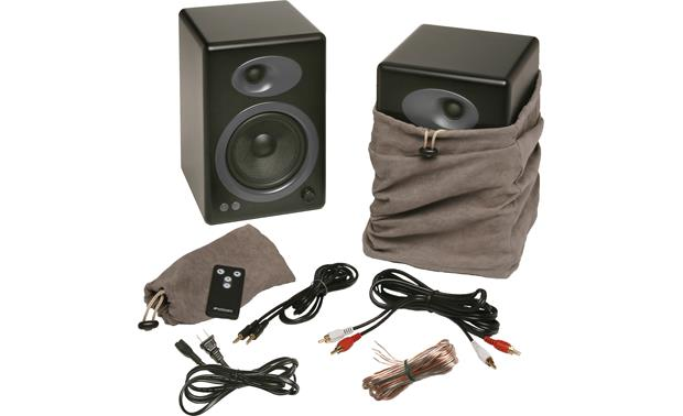 Audioengine A5+ Black, shown with included accessories