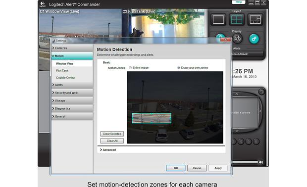 Logitech® Alert™ 700e Separately sold system monitors up to 16 motion detection zones per camera