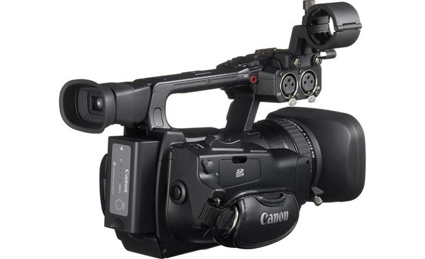 Canon XF100 High Definition Camcorder Back 3/4 angle, with battery pack