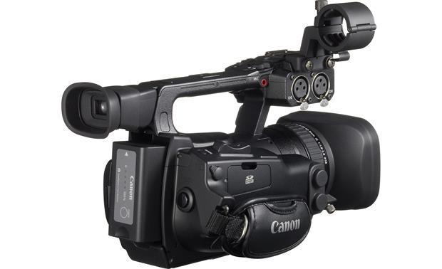 Canon XF105 High Definition Camcorder Back 3/4 angle, with battery pack