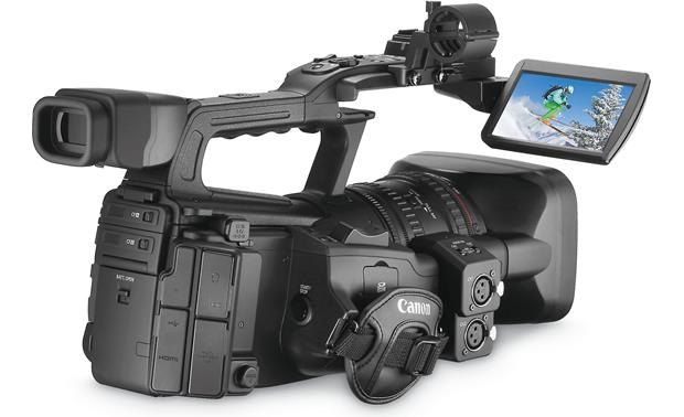 Canon XF300 High Definition Camcorder Back, 3/4 angle, LCD display  extended