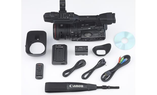 Canon XF305 High Definition Camcorder shown with supplied accessories