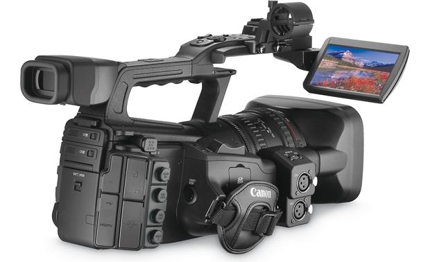 Canon XF305 High Definition Camcorder Back, 3/4 angle, LCD display  extended