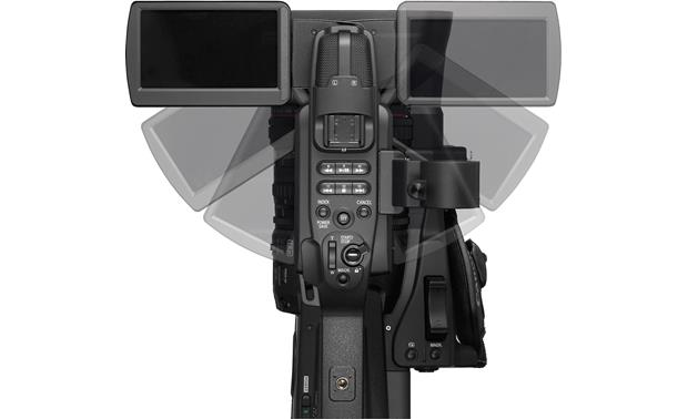 Canon XF305 High Definition Camcorder Top view, showing possible LCD display positioning