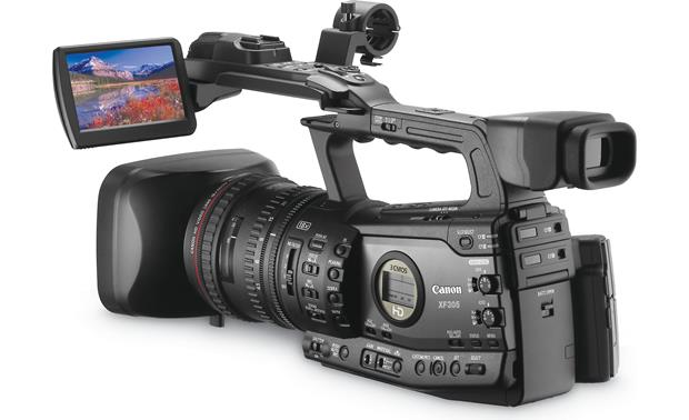 Canon XF305 High Definition Camcorder Back, left, 3/4 angle, LCD display extended
