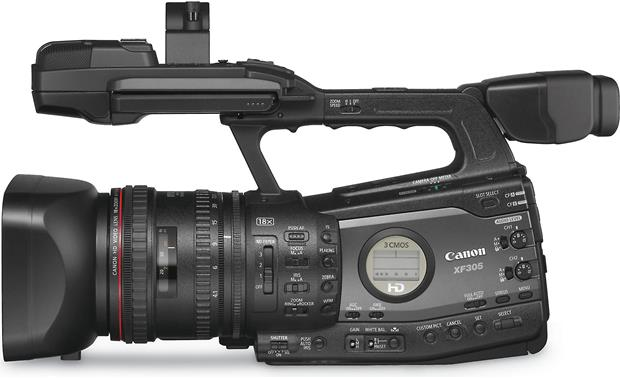 Canon XF305 High Definition Camcorder Left side view