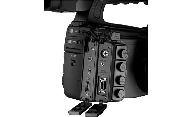 Canon XF305 High Definition Camcorder Rear connector panel, exposed