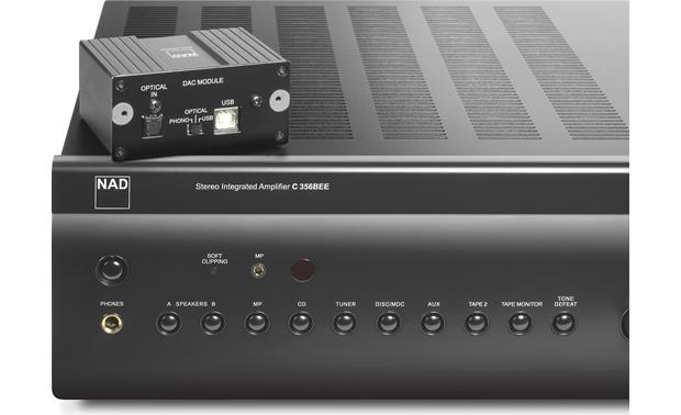 NAD C 356DAC DAC module on top of integrated amp for scale