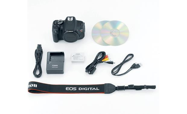 Canon EOS Rebel T3i (no lens included) Shown with included accessories