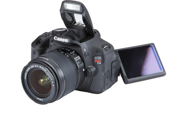 Canon EOS Rebel T3i Kit Built-in flash raised and screen angled out