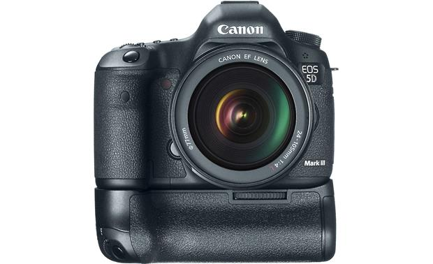 Canon EOS 5D Mark III with L-Series Zoom Lens Front, straight-on, with optional battery grip (not included)