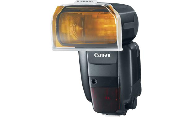 Canon Speedlite 600EX-RT shown with colored gel (not included) in supplied holder