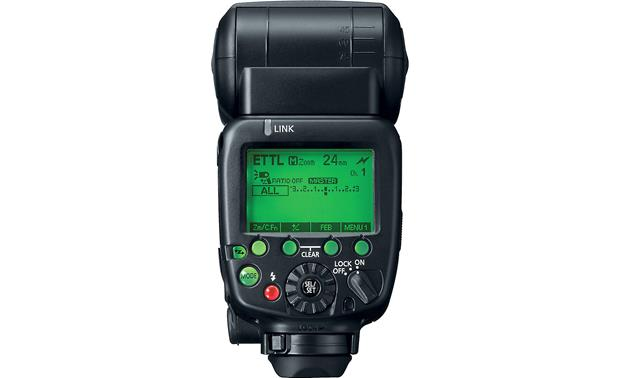 Canon Speedlite 600EX-RT Back, with LCD display illuminated and displaying information