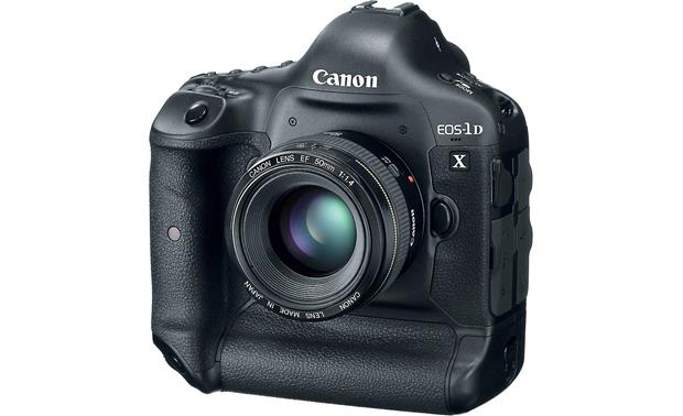 Canon EOS 1D X (no lens included) Front, 3/4 view, with EF 50mm f/1.4 lens (not included)