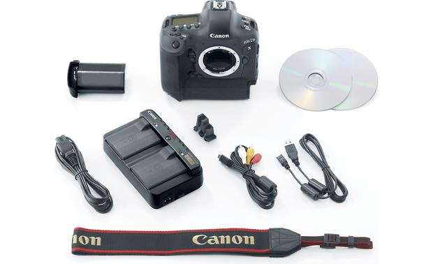Canon EOS 1D X (no lens included) shown with supplied accessories