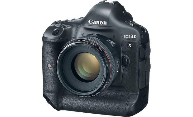 Canon EOS 1D X (no lens included) Front, 3/4 view, with EF 50mm f/1.2 L-Series lens (not included)