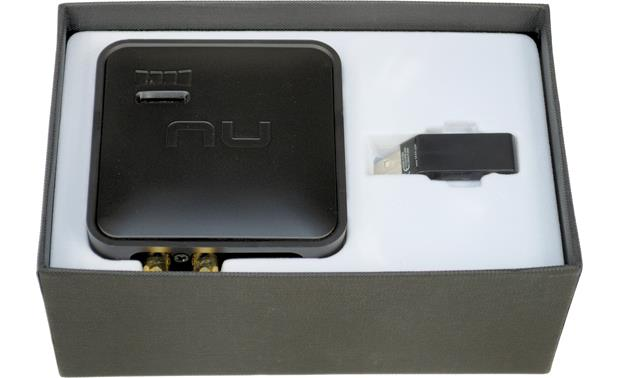 NuForce Air DAC uWireless System™ DAC/receiver and USB transmitter dongle in product package