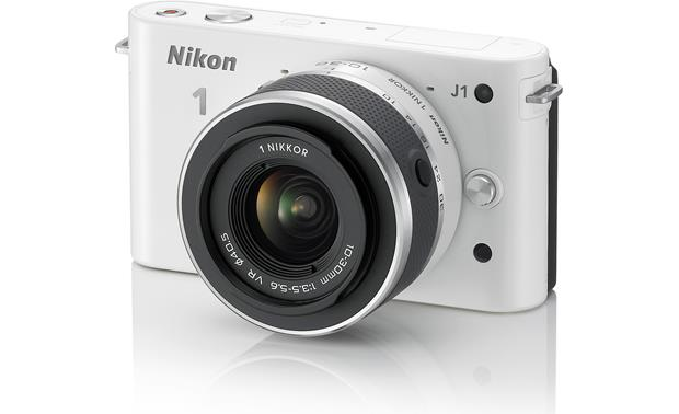 Nikon 1 J1 Gift Pack Front, 3/4 view, Nikon J1 in white, from right